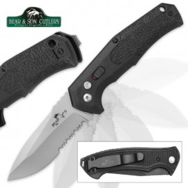 Bear Ops Bold Action Black Automatic Knife Satin Serrated
