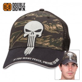 Double Down Punisher of Evil Trucker Cap Zebra Camo