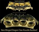 gold winged demon belt buckle paper weight knuckle 14gd