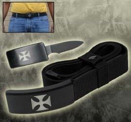hidden belt buckle knife pirate black hg01sk
