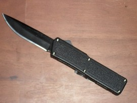 Lightning Black D/A OTF Automatic Knife Plain Black Blade